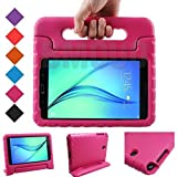 BMOUO Samsung Galaxy Tab A 8.0 (2015) Kids Case - ShockProof Case Light Weight Kids Case Super Protection Cover Handle Stand Case for Kids Children for Samsung Galaxy TabA 8-inch Tablet - Rose Color