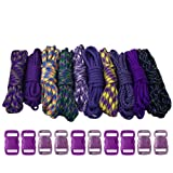 Paracord Planet 550lb Type III Paracord Combo Crafting Kits with Buckles (PURPLE)