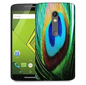 Snoogg Peacock Feather Closeup Designer Protective Phone Back Case Cover For Motorola Moto X Play