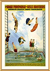 Circus Poster Forepaugh & Sells Divers - Whimsical approx. 25x29-inch Framed and Matted - 1 1/2-inch Antique Style Gold Frame - Photographic Print from the Library of Congress Collection