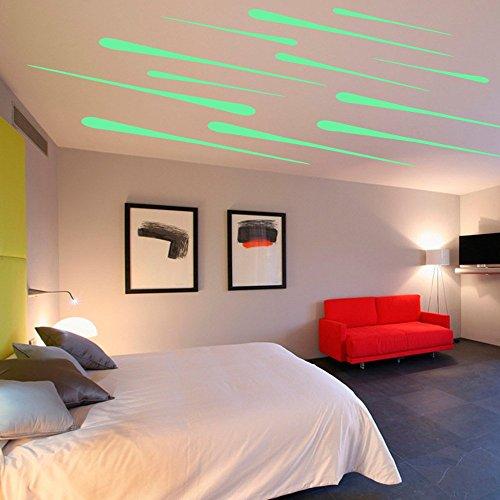 Hysenm Adhésifs Muraux Fluorescent Autocollants Amovible Réutilisable Décoration Idéale Pour Chambre Salon Cuisine Salle de Bains Bureau Plafond Étoiles Filantes