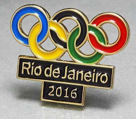 リオ・オリンピック・五輪ピンバッジ/OLYMPIC PINS BADGE 2016 RIO DE JANEIRO BRAZIL CUTOUT RINGS LOGO BLACK BACKGROUND