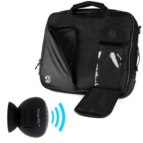 Vangoddy Pindar Sling - Jet Dark Black Pro Deluxe Shoulder Messenger Carrying Bag For Samsung Galaxy Tab S 10.5' Android + Black Mini Suction Bluetooth Speaker W/ Microphone
