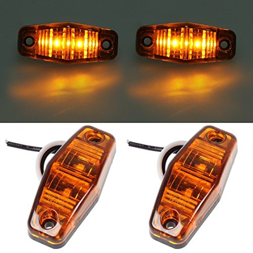 Partsam 2 Pcs Led Light 2 Diode Amber Universal Surface Mount Clearance Side Marker Trailer (Size: 2.53 X 1.06 X 0.71 Inch )