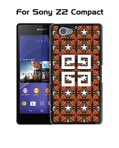 Givenchy Sony Z2 Compact Custodia Case, Brand Logo Protection Unique Pattern Rugged Drop Resistant Hard Plastic Vintage Fit for Sony Xperia Z2 Compact (Only For Sony Z2 Compact)