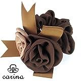 carina(カリーナ) バラ モチーフ シュシュ ボリューム 薔薇 ヘアゴム レディース 高級感 大人 (ブラウン)