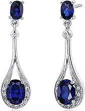 Revoni 5.00ct Blue Sapphire Oval Cut Dangle Diamond CZ Earrings in Sterling Silver