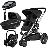 Quinny Buzz Xtra Rocking Black with Carrycot and Pebble with Familyfix Base