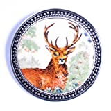 Broken China Jewelry &#8211; Wedgwood Queen&#8217;s Ware Mammals Red Deer &#8211; Sterling Silver Pin Brooch