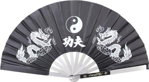 BladesUSA 2510-CBK Kung Fu Fighting Fan, Metal Frame, Black/White, 14-3/4-Inch Length, 27-1/4-Inch Open