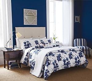 Sanderson Mandarin Flowers Kingsize Duvet Cover, White and Indigo Blue       Customer reviews and more information