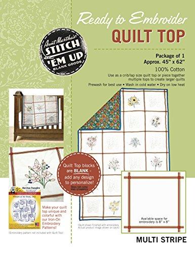 Zia Martha del cotone punto 'em up pronto a ricamare Quilt Top 114,3x 157,5cm-Retro a righe, retro Stripe