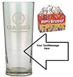 20oz Crabbies Glass with FREE Engraving up to 30 Letters in Happy Birthday Gift Box