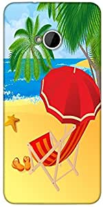 Snoogg Tropical Beach Vector Designer Protective Back Case Cover For HTC M7