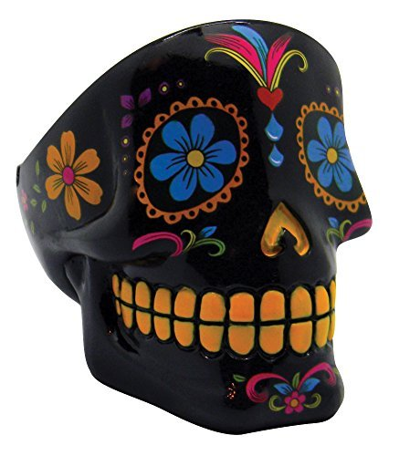 Day of the Dead Sugar Skull Ashtray - Black - 3x3.75 by Fantasy Gifts