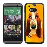 Basset Hound  Pendant Ear Dog Aluminum MetalHard Plastic Back Case Cover Black HTC One M8