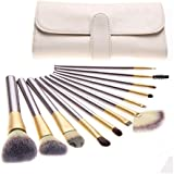 Unimeix? 18 pcs Professional Makeup Cosmetics Brushes Set Kits with White Cream-colored PU Case Bag