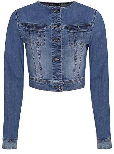 oodji Ultra Donna Giubbino in Jeans Corto, Blu, IT 42 / EU 38 / S
