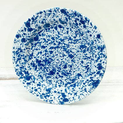 "Enamelware 10"" Dinner Plate, Blue Marble Set Of 4"