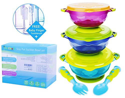 MiChef Stay Put Suction Bowl, Spill Proof, Baby Bowls with Snap Tight Lids, Baby Gift Set of 3 Count, and 2 Best Baby Spoon and Fork, Perfect for Babies & Toddlers BPA & BPS Free FDA Approved (Snack Bowl With Snap Lid compare prices)