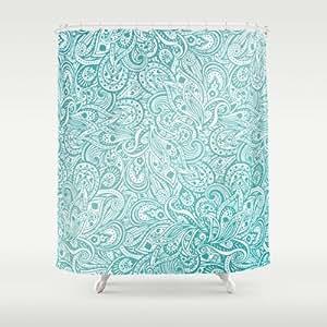 Society6 Blue Paisley Design Shower Curtain By Studiomarshallarts Home Kitchen