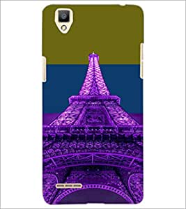 PrintDhaba Tower D-4916 Back Case Cover for OPPO F1 (Multi-Coloured)