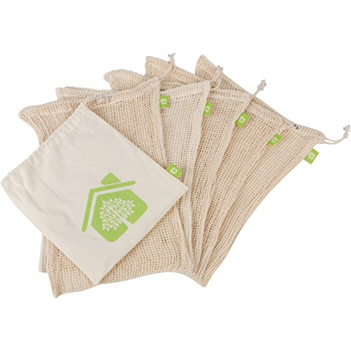 Reusable Produce Bags 5 Pack - Organic Cotton Mesh - Large Size for Grocery Shopping and Fruit and Veggie Storage - With Convenient Muslin Carry Bag (Mesh Cooking Bags compare prices)