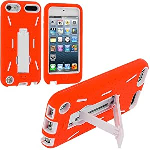 Orange / White Hybrid Rugged Hard Silicone Case Cover w/ Stand for Apple iPod Touch 5th Generation 5G 5
