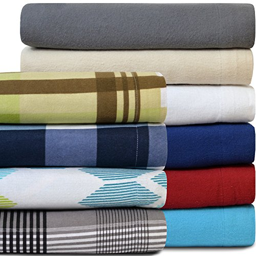 Heavyweight 100% Cotton Flannel Sheet Set Twin XL Extra Long (Twin XL, White) (Flannel Sheets Twin Xl compare prices)