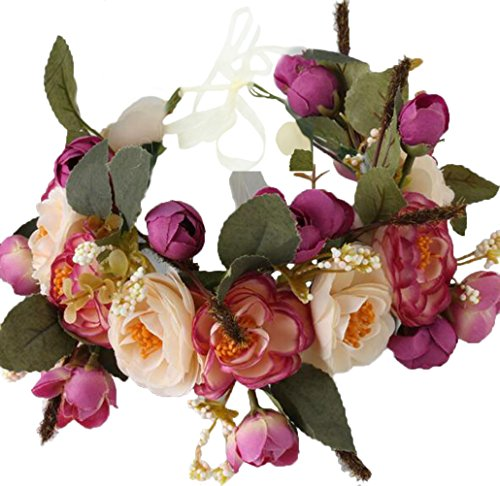 Vivivalue Camellia Flower Wreath Headband Floral Crown Garland Boho for Festival Wedding Purple