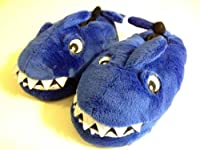 Kid Shoe Size 6/7 Blue Shark Plush Soft Slippers, Great Gift Halloween Costume
