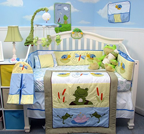 Soho Leap Froggies Baby Nursery Infant Crib Nursery Bedding Set 14 Pcs Included Diaper Bag With Changing Pad & Bottle Case front-478469