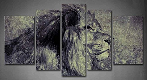 5 Panel Wall Art Illustration Made With Digital Tablet Lion In Sepia Vintage Painting The Picture Print On Canvas Animal Pictures For Home Decor Decoration Gift Piece (Stretched By Wooden Frame,Ready To Hang)