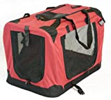 "Portable Soft Pet Carrier or Crate or Kennel for Dog, Cat, or other small pets. Great for Travel, Indoor, and Outdoor (Maroon Red, Medium: 24""x16""x16"")"