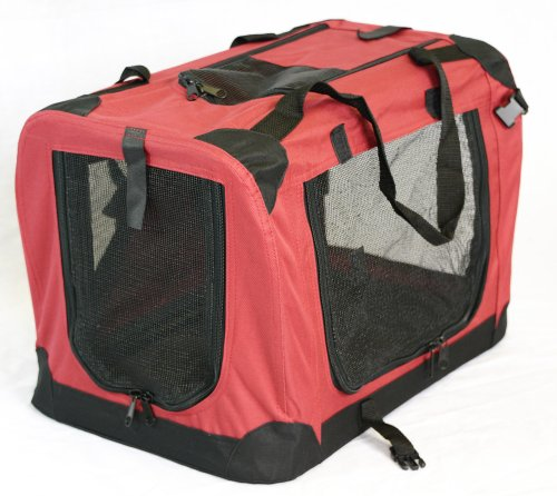 Portable Soft Pet Carrier or Crate or Kennel for Dog, Cat, or other small pets. Great for Travel, Indoor, and Outdoor (Maroon Red, Medium: 24″x16″x16″)