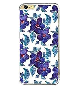 Blue Flowers Pattern 2D Hard Polycarbonate Designer Back Case Cover for Apple iPhone 6 Plus :: Apple iPhone 6+