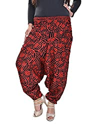 Soundarya Women's Regular Fit Harem Pants (AP4, Red)