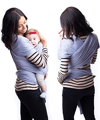 Best-Baby-Carrier-Sling-Wrap-for-Moms-Original-Grey-Cotton-Quality-Material-Comfortable-Durable-Fashionable-For-Mothers-with-Infant-Newborn-to-35lbs-Babies-Shower-Gift-By-Belephant-Baby