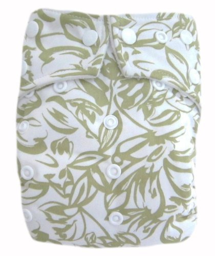 "Kawaii Baby Good Night Heavy Wetter One Size Pocket Cloth Diaper with 2 Large Microfiber Insert "" Light Green Aloha "" - 1"