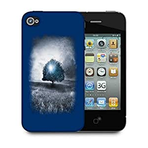 Snoogg Blue Tree Designer Protective Back Case Cover For IPHONE 4