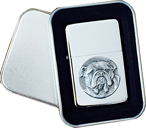 Chrome Star Lighter with Pewter British Bulldog Dog Emblem, Complete with Metal Gift Tin