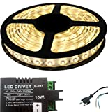 Iplay Self Adhesive Water Proof SMD Strip LED Light in White Colour With LED Driver & Power Cord