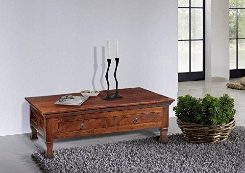 Table basse de style colonial en bois d'acacia avec 2 tiroirs en bois massif-oXFORD - 445