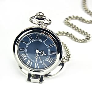 Creddeal Fashion Stainless Steel Case Roman Numbers Modern quartz Pocket Watch Blue PW053