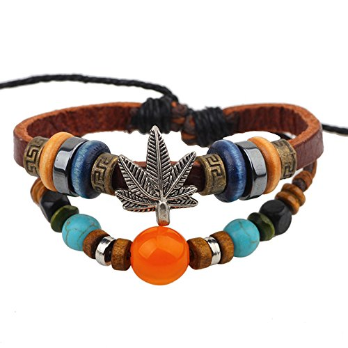 Winter's Secret Alloy Maple Leaf Unisex Lucky Fire Dragon Bead Adjustable Leather Wrap Bracelet