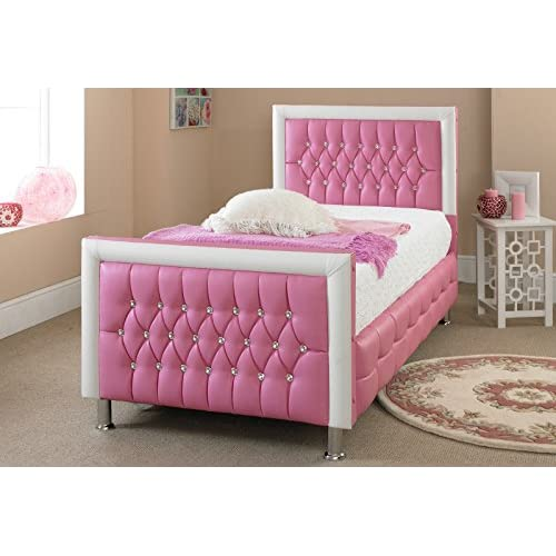 Luxury Pink Princess Crystal Bed Extra Padding Faux Leather 3FT Single (PINK AND WHITE BORDERS, 3FT SINGLE)