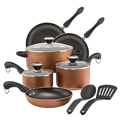Paula Deen Dishwasher Safe Nonstick Cookware Set, 11-Piece, Copper