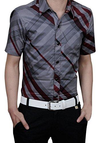 Gillbro Mens Premium casuale plaid Camicia, Rosso, 6XL