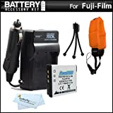 Battery And Charger Kit For Fuji Fujifilm FinePix XP200, XP170, XP150, XP100 Waterproof Digital Camera Includes Extended Replacement (1100Mah) NP-50 Battery + Ac/Dc Rapid Travel Charger + Floating Strap + MicroFiber Cloth + More