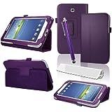 Original Hostey® Ledertasche Schutzhülle Samsung galaxy tab 3 7.1 Hülle Tasche Case mit Ständer für Samsung galaxy tab 3 7.1 P3200 P3210 (Bio Pu Leder) ((LILA/PURPLE))